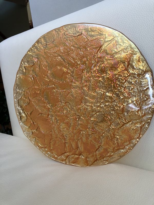 Large Amber Iridescent Glass Platter