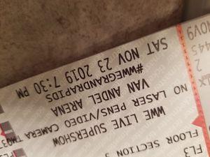 2-WWE Supershow Ringside Floor Tickets. Floor 3 Row E. $100 each. for Sale in Grand Rapids, MI