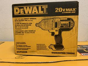 DEWALT 20-Volt MAX Lithium-Ion Cordless 1/2 in. High Torque Impact Wrench with Detent Pin (Tool-Only) for Sale in Houston, TX