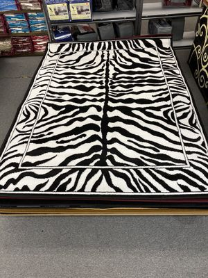 Black and white color zebra print design area rug brand new for Sale in Salem, OR