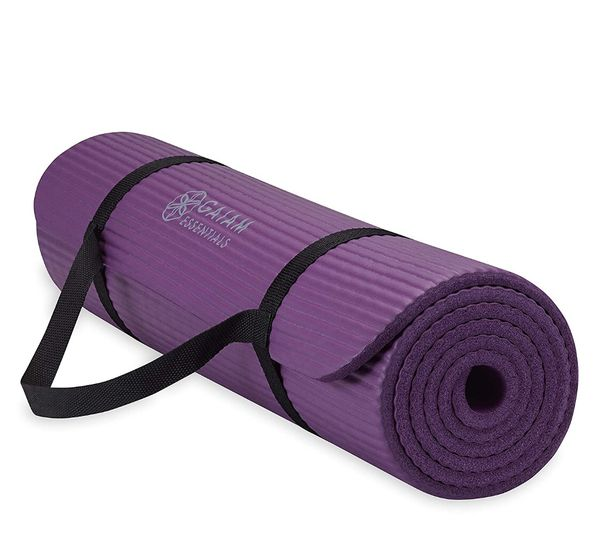 "Gaiam Essentials Thick Yoga Mat Fitness & Exercise Mat with Easy-Cinch Yoga Mat Carrier Strap (72""L x 24""W x 2/5 Inch Thick"