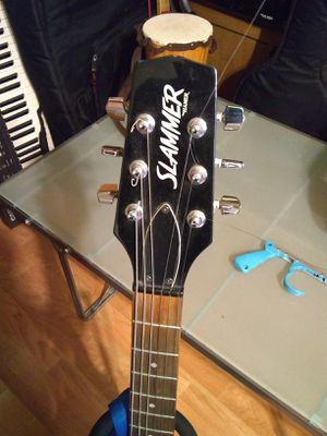 Guitar electric Hamer Slammer SPI/TW doublecut with Windsor Kaman gig bag & strap, pickup near Western/Devon ave Chicago for Sale in Chicago, IL