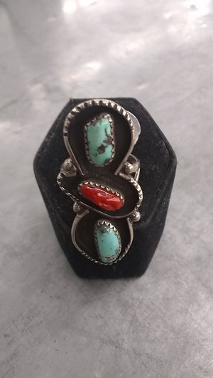 Turquoise and coral in silver ring for Sale in Mesa, AZ