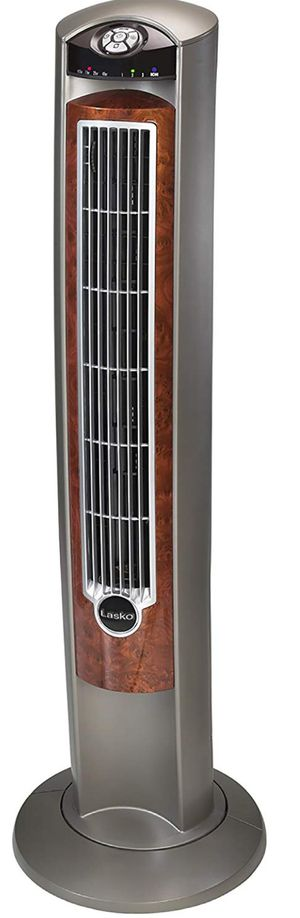 Lasko 2554 Wind Curve Tower Fan with Remote Control and Fresh Air Ionizer, Silver Woodgrain for Sale in Littleton, CO