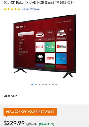 """TCL ROKU 43"""" TV for Sale in Aberdeen, MD"""