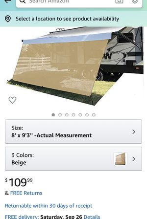 Brandnew RV awning shade, size 9 x7 for Sale in Oxnard, CA