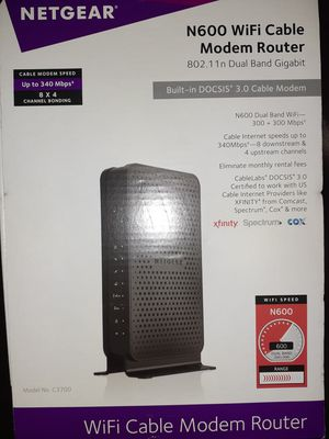 NETGEAR N600 WiFi Cable Modem Router - DUAL BAND 340 Mbps for Sale in Haslet, TX