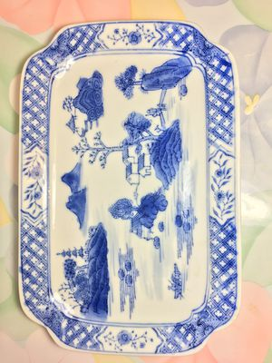 Antique Signed Chinese Blue & White Platter for Sale in Blandford, MA