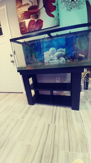 55 gallon aquarium with new filter, pack of carborn filter pads and free stand for Sale in Germantown, MD