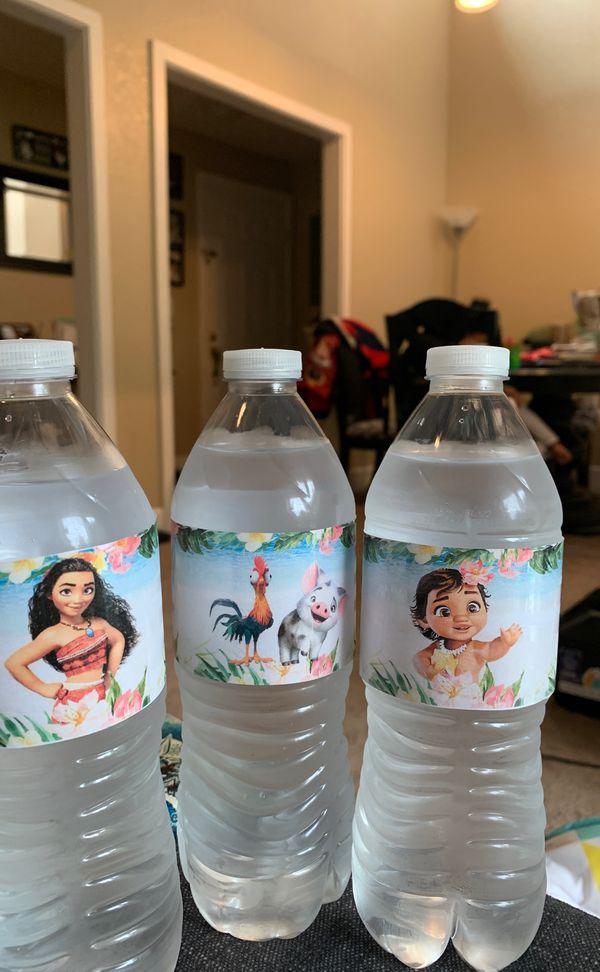 Moana flower water bottle labels