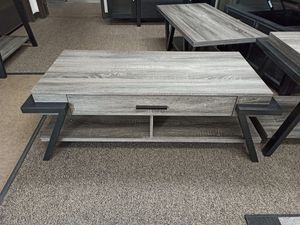 Stylish Coffee Table with One Drawer, Distressed Grey for Sale in Santa Fe Springs, CA