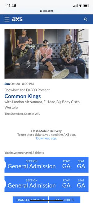 Common Kings show tonight for Sale in Seattle, WA