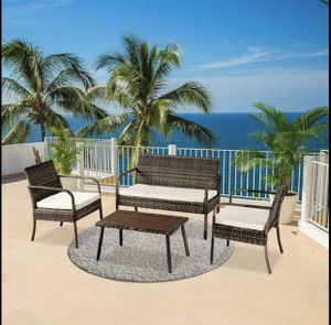 50% off $688 SALE! 4pc outdoor rattan wicker furniture Patio set With Cushions 2 chairs and coffee table deck porch swimming pool for Sale in Scottsdale, AZ