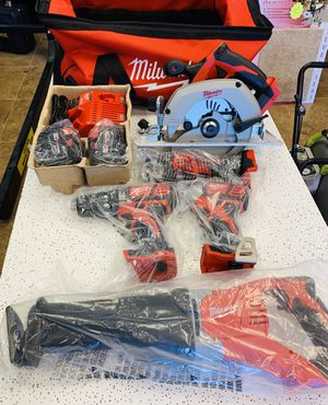 Milwaukee M18 Cordless Lithium Ion 5 Tool Combo Kit Hammer Drill Sawzall Circular Saw Impact Driver Worklight for Sale in Hollywood, FL