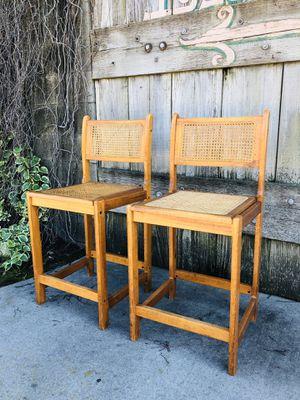 Rad Set of Vintage Cane & Wood Bar Stools / Set of 2 for Sale in Norwalk, CA