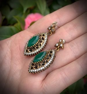 ORIG VINTAGE EMERALD EARRINGS Solid 925 Sterling Silver/Gold WOW! Gems: 2 Brilliant Facet Pear Cut Emeralds n' Round Diamond Color Topaz. EXQUISITE D for Sale in San Diego, CA