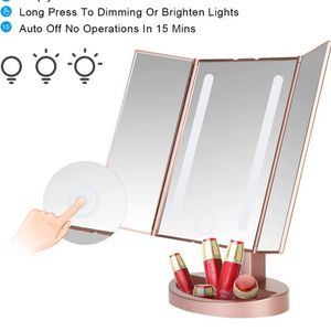 LEJU Tri-Fold LED Makeup Mirror-GOLD for Sale in Henderson, NV