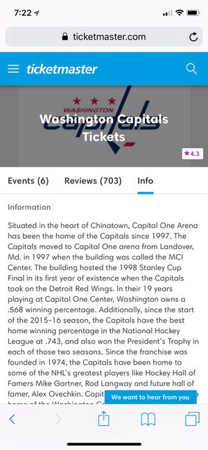 Game 5 Viewing Party - Capitals vs Golden Knights for Sale in Reston, VA