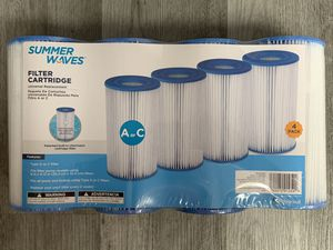 SUMMER WAVES Type A or C Pool PUMP Filter Replacement Cartridge (4-Pack) for Sale in Antelope, CA