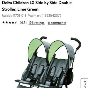 Delta Children LX Side By Side Double Stroller Lime Green for Sale in Dallas, TX