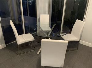 Round Glass Table with chrome base and 4 chairs for Sale in Boca Raton, FL