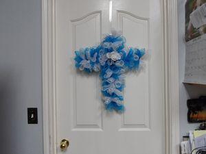 Handmade deco mesh cross wreath for Sale in Schertz, TX