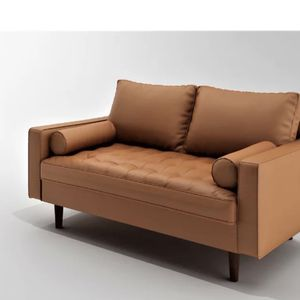 Faux Leather Brown Loveseat w/ Cylinder Pillows for Sale in Seattle, WA