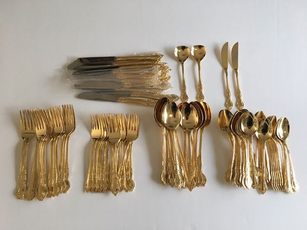 Gold Cutlery Flatware Silverware Set – 100 Pieces