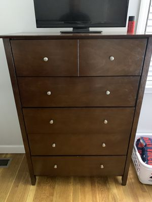 Full size wood bed frame with 6 drawer chest for Sale in E BRIDGEWTR, MA
