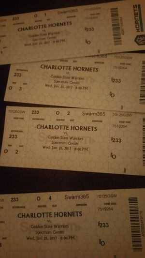 Hornets tickets vs golden state for Sale in Charlotte, NC