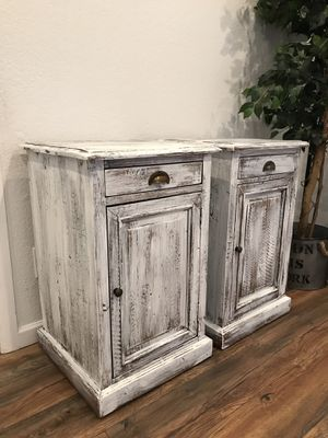 Real solid wood rustic / farmhouse style tall end tables / nightstands for Sale in Peoria, AZ
