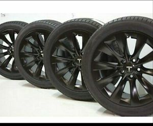 "19"" Tesla Model S Slipstream Factory OEM Black Wheels Rims Tires Goodyear for Sale in Solana Beach, CA"