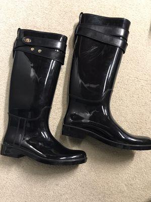 COACH Talia Black Rubber Harness Tall Rain Boots Womens Size 9 for Sale in New Berlin, WI