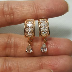 18K Yellow Gold Filled White Zircon Topaz Quartz Women Hoop Earrings for Sale in Queens, NY