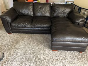 Dark chocolate leather sectional couch for Sale in Saginaw, TX