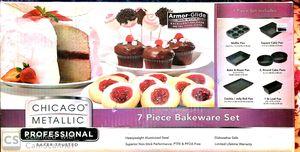 Chicago Metallic Professional Non Stick Glide 7 piece bakeware set, baking equipment , cupcake , cookie pan , muffin pan for Sale in Bradbury, CA