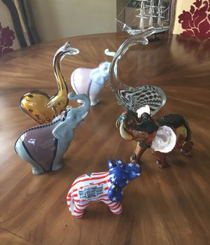 Collection of 6 elephants- glass and porcelain. Murano(2) and NAO (2) for Sale in Englewood, NJ