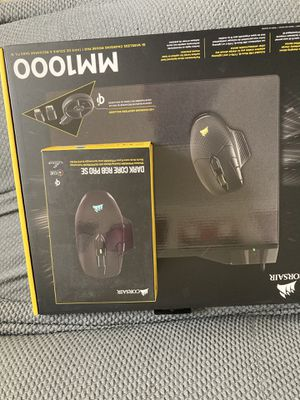 Corsair dark core wireless mouse and mm1000 Qi charging pad for Sale in Tacoma, WA