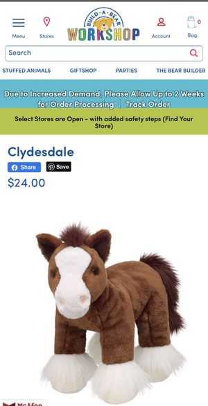 "Build a Bear Clydesdale Pony plush toy 16"" for Sale in Lakewood, CA"