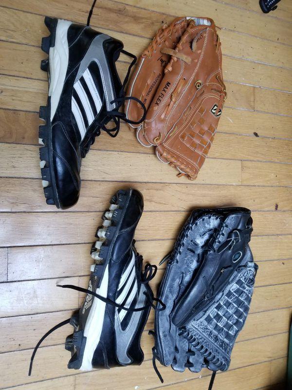 Mizuno gloves (medium and large). Size 12 Adidas cleats.
