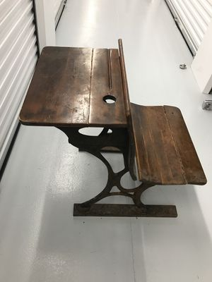 Antique cast iron wood school desk for Sale in Durham, NC