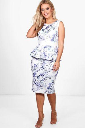 Boo Hoo Curve Size 20 Blue White Peplum Plus Dress for Sale in Alhambra, CA