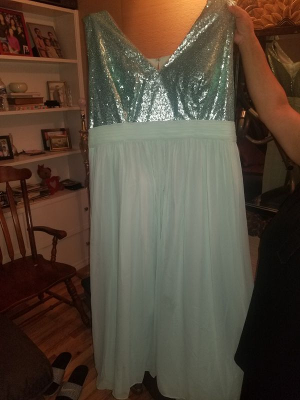 Plus size mint green/blue formal dress