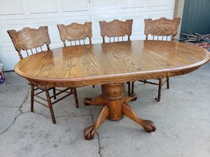 Oak Table and Chairs with Leaf for Sale in Visalia, CA