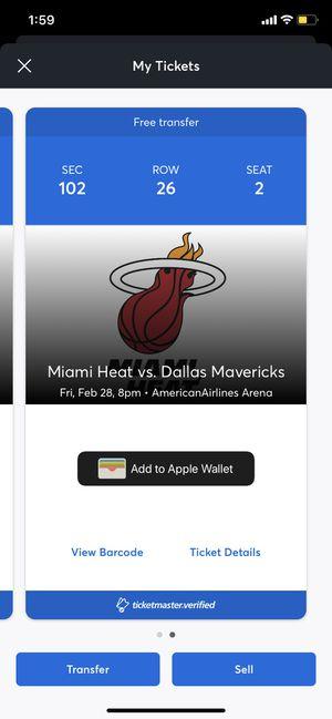 Miami Heat vs Dallas Mavericks - section 102 Row 26 - 2 tickets for Sale in Miami, FL