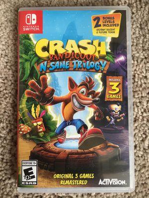 Nintendo switch crash bandicoot n'sane trilogy for Sale in Laveen Village, AZ