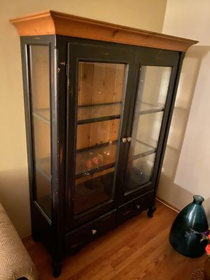 Medium size china cabinet aged black color for Sale in Santa Ana, CA