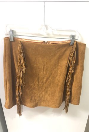 FOREVER 21 fringed suede brown skirt L for Sale in San Diego, CA