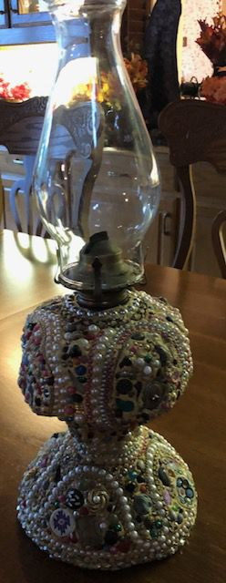 Decor - Oil Lamp Decorated with Vintage Jewelry for Sale in Bedford, TX