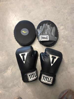 Title boxing gloves and everlast mits for Sale in Lynn, MA
